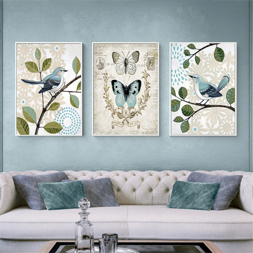 Nordic Style Poster Bird Art Butterfly On Branch Hanging Wall Painting Home Decor Retro Simple Flower Based Canvas Hd Printing