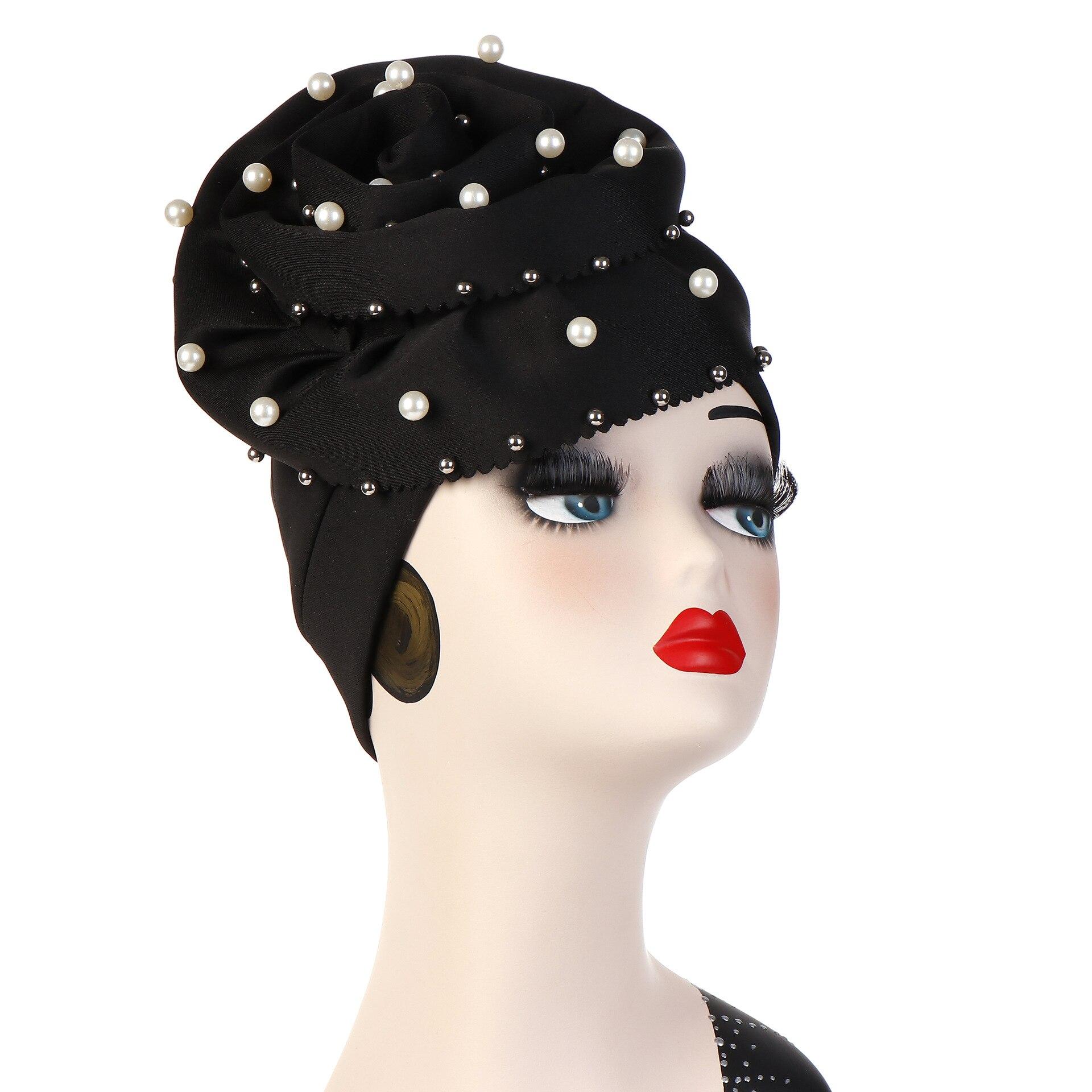 Fashion Pearls Beaded Flower  Turban Women Bonnet Hair Loss Cap Muslim Turbante Party Hijab Headwear Hair Accessories