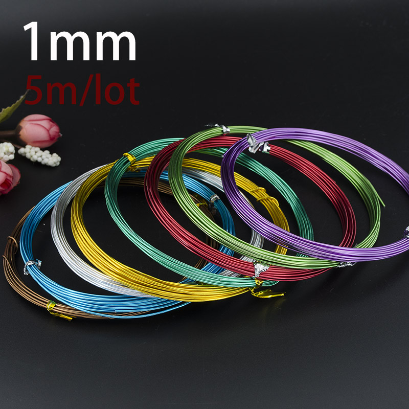 1.0mm  Anodized Aluminum Craft Wire Multi Optional Mixed Colors 5m/pcs Roll For Jewelry Findings DIY Decoration