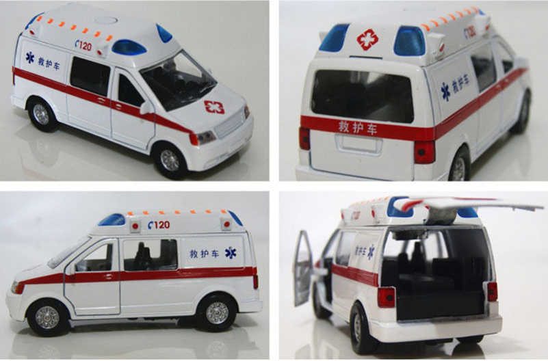 Putih Ambulans Medis kendaraan Mainan 1/32 Paduan Tarik Kembali Diecast Model Mobil dengan Cahaya dan Suara