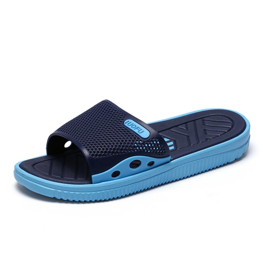 SAGACE; коллекция года; Мужские Модные Повседневные тапочки; летняя уличная Нескользящая пляжная обувь; домашние тапочки; Новинка - Цвет: Синий