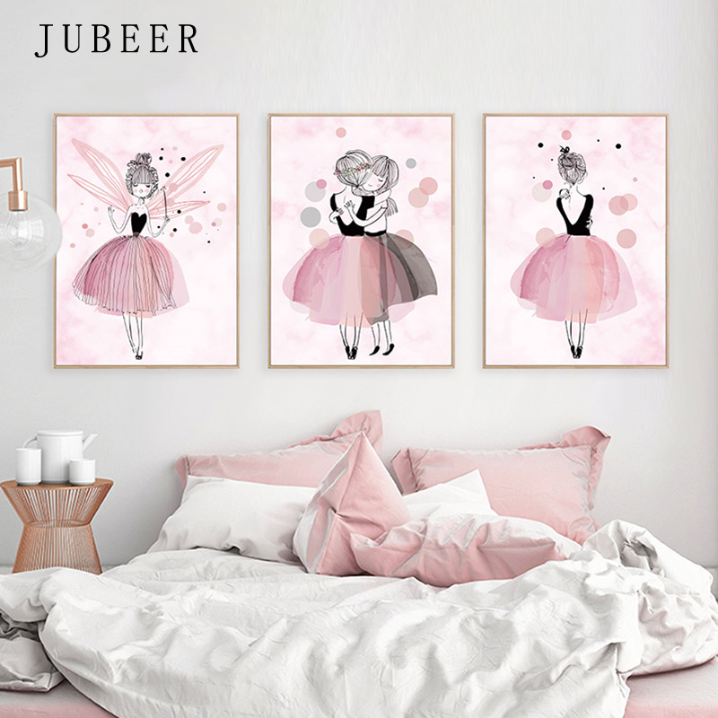 Nordic Ins Style Poster And Print Watercolor Ballet Girl Decorative Painting Kids Room Wall Art Nursery Picture