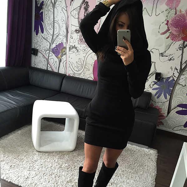 Осенне-зимнее женское теплое платье, сексуальное однотонное платье с капюшоном, повседневное мини-платье с длинным рукавом и карманом