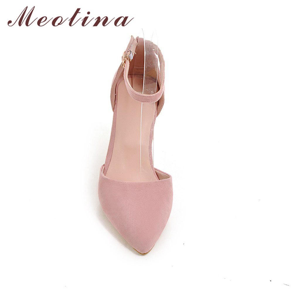High Heels Women Pumps Two Piece Thick Heels Ladies Party Pink Shoes Summer Buckle Ankle Strap Footwear 2