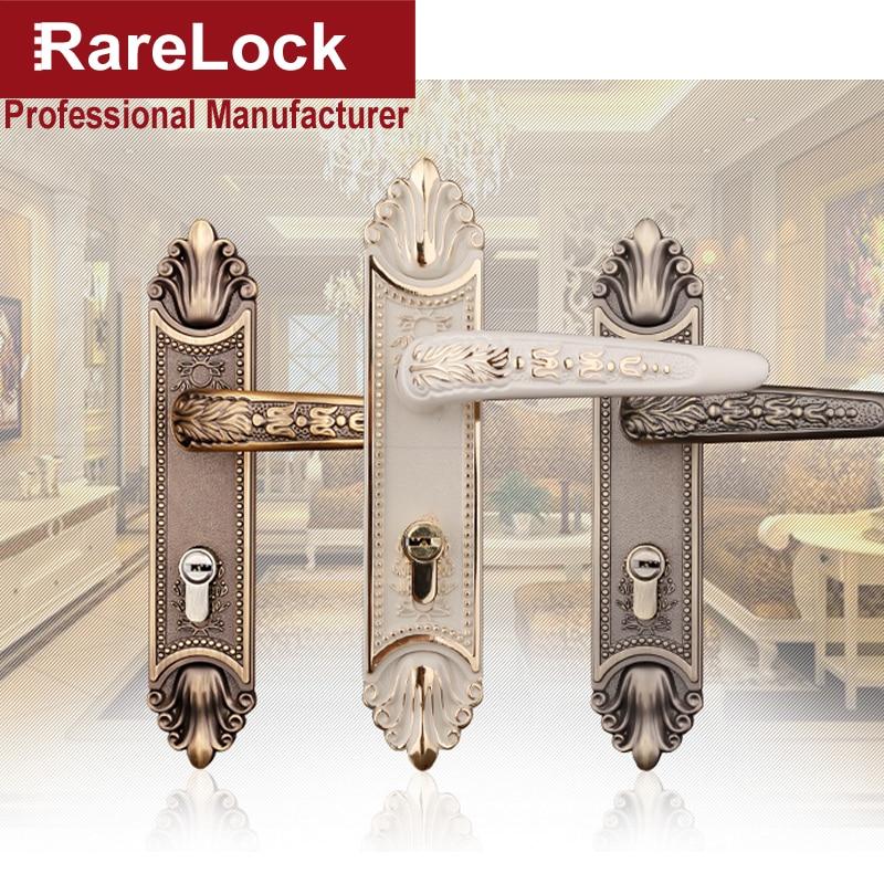 цена на Rarelock Christmas Supplies Handle Door Lock 3 Color Bathroom Women Bedroom Dress room Wooden Door Hardware DIY a