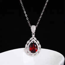 цена wholesale fashion white gold 925 sterling silver red garnet natural crystal jewelry pendant necklace for gril wedding engagement в интернет-магазинах