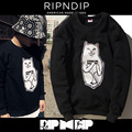Popular Brand Ripndip Hoodie Men Women Hip Hip Cotton Lord Nermal Middle Finger Pocket Cartoon Cat MB Ripndip Sweatshirts Hombre