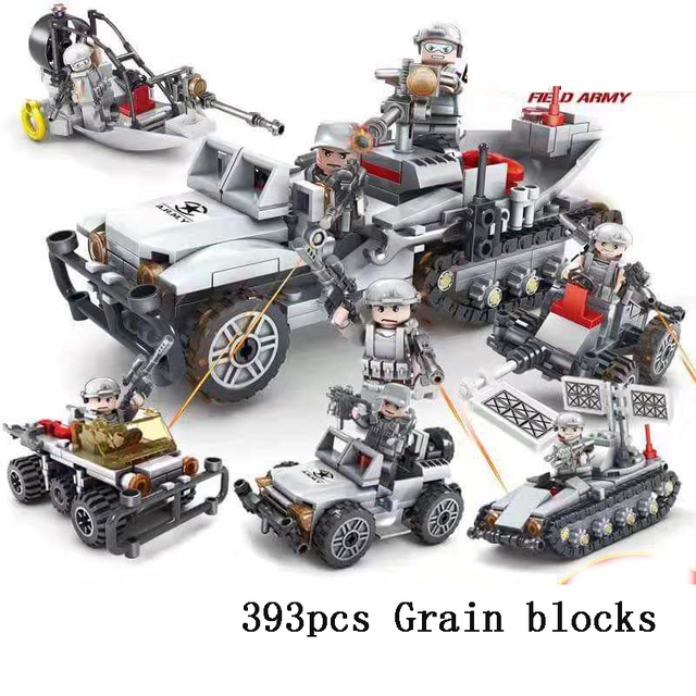 Military Tracked Vehicle Building Block Toy Field Troops DIY Assemblage 393 pcs/Sets Box Granular Brick Free Doll  Model Kit