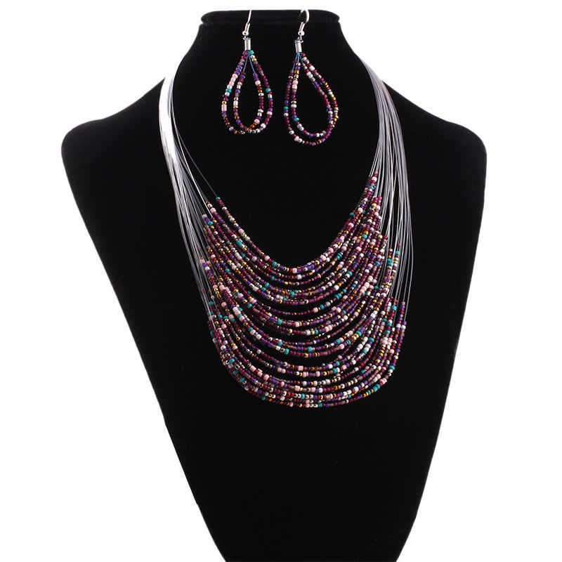 Fashion Women Multicolor 20 layer line Beads Long Necklace Set with  Earrings bride Rope Bohemia Statement jewelry set
