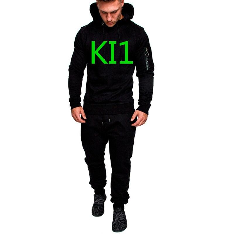 KI1 Green Letter Men's Logo Commission Spring Sportswear Hoodies Set Suit Sweatshirts Man Jacket Tracksuits Solid Color Pullover