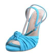 Shofoo Frauen Schuhe Mode Knoten Plissee Türkis Flock Knoechelriemchen Stiletto High Heels Peep Toe größe 5-16