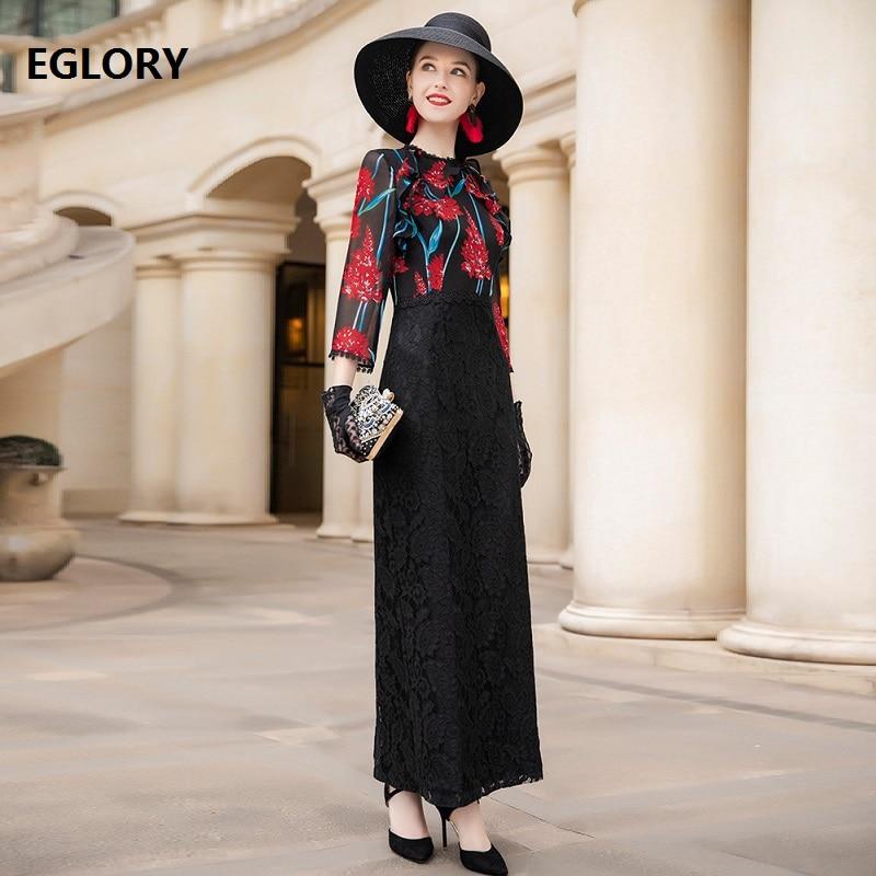Formelle soirée longues robes 2019 été Style femme rouge Floral imprimé noir dentelle Patchwork manches longues moulante robe