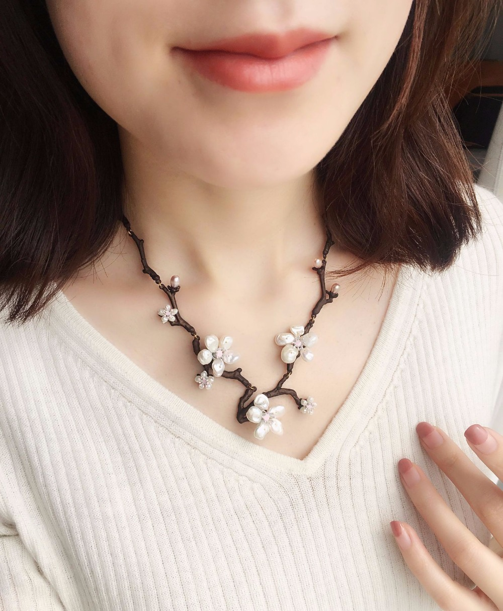 High end independent designers Cherry blossoms bloom necklace