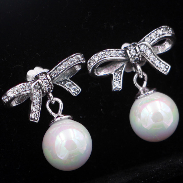 3c86e0477 925 Sterling Silver Earring Delicate Sentiments With White Pearl & Crystal  Stud Earring For Women Wedding