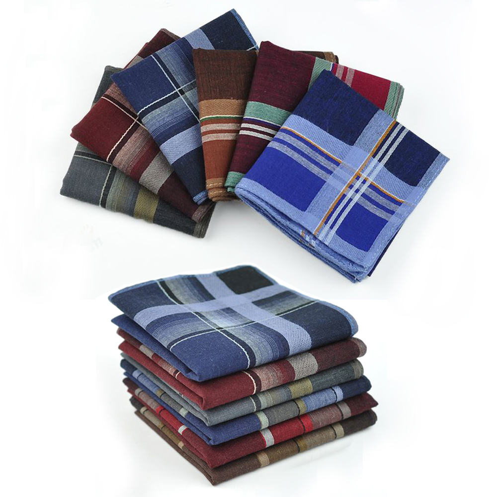 12pcs/lot Striped Plaid Men Wedding Handkerchief Cotton Fabric Hanky Festival Party Handkerchiefs Christmas Male Pocket Square