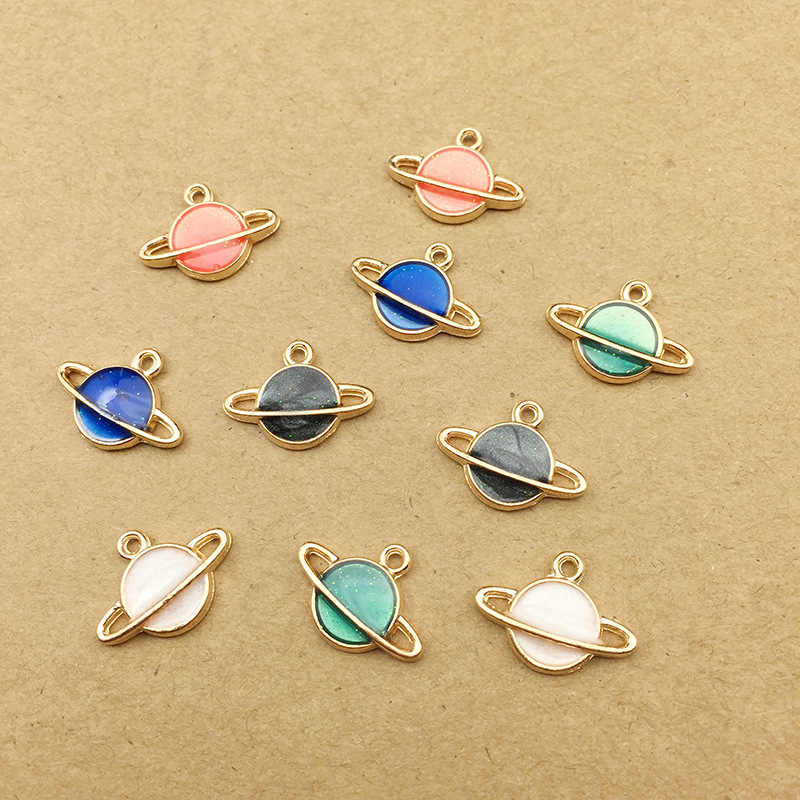 10pcs 16x12mm DIY fashion metal enamel Cosmos planet space charms bracelet pendants for necklace earring jewelry making material
