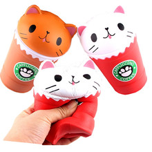 Squishy Anti-Stress 14cm Cut Cappuccino Squishies Coffee Cup Cat Scented Slow Rising Squeeze Collection Squishes Gift Toy