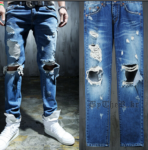 mens wash water blue distressed jeans ripped hip hop fashion ...
