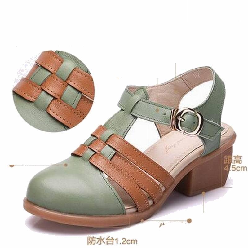 Vaca Músculo brown Auténtico Brown Cuero Grueso Medianas Mujeres Talón Niza Green Zapatos Sandalias green Infiernos Verano Transpirable Correa Beige With qtHwPwI