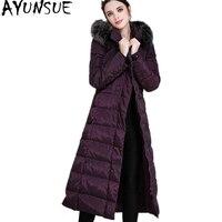 AYUNSUE 2018 Ladies Winter Warm Coat X Long Women Down Jacket Fox Fur Collar Parkas Thicken Female Clothes Plus Size 5XL WYQ739