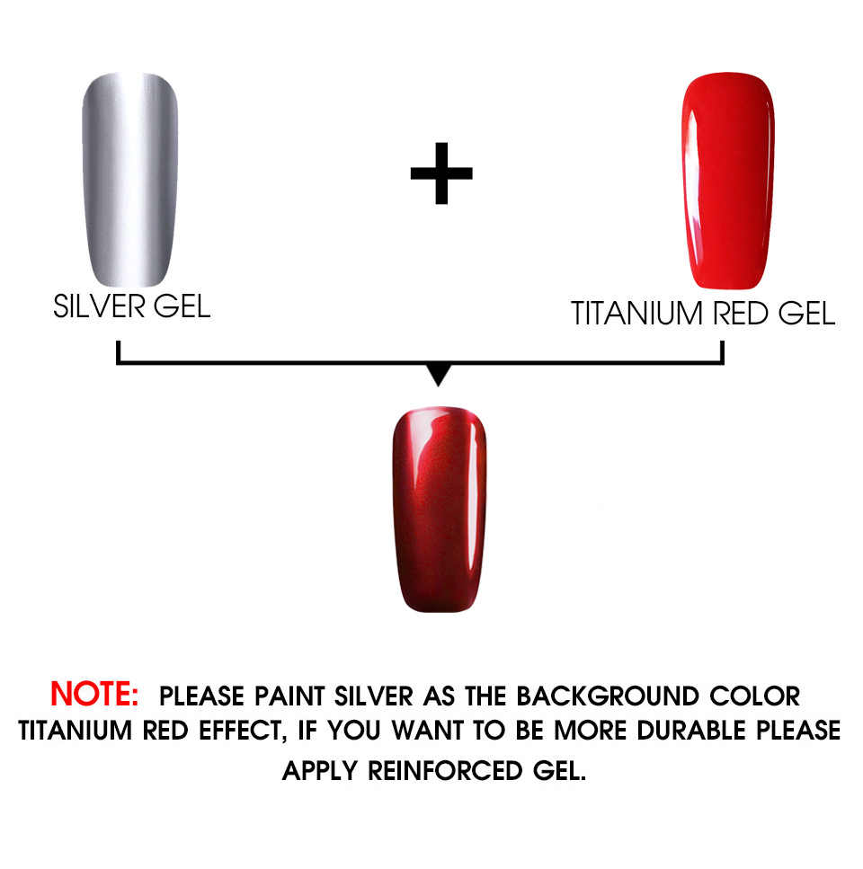 WiRinef 8 ml צבעים טיטניום אדום UV ג 'ל לק אדום מתכת טיטניום אמנות ציפורן דבק צריך כסף צבע בסיס פריימר
