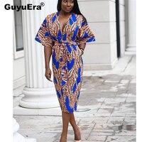 GuyuEra 2019 African Dress For Women Print V neck Long Skirt Straps Fat Skirt