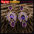 2017 Fashion  Glod Plated Heart Water Drop Crystal Purple Imitation Diamond Beads Rhinestone Shine Flower Long Drop Earrings
