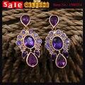 2017 Moda Glod Plateado Water Drop Corazón de Cristal Púrpura Perlas de Imitación de Diamante Brillo Rhinestone de La Flor Pendientes de Gota Largos
