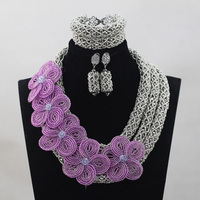 Gümüş Kristal Lila Çiçek Broş Afrika Kristal Boncuk Eklemek Nişan Mücevherat Set Düğün Takı Seti Ücretsiz ShippingABH119