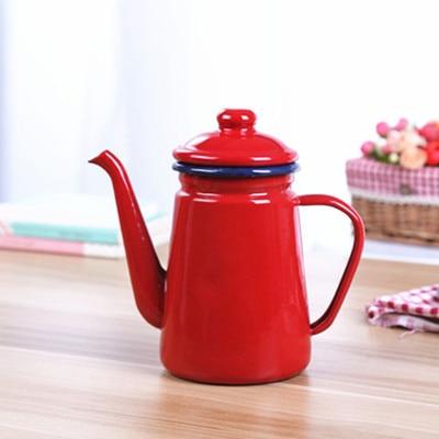 1.1L Enamel Coffee Pot Hand Tea Kettle Induction Cooker Gas Stove Universal1.1L Enamel Coffee Pot Hand Tea Kettle Induction Cooker Gas Stove Universal