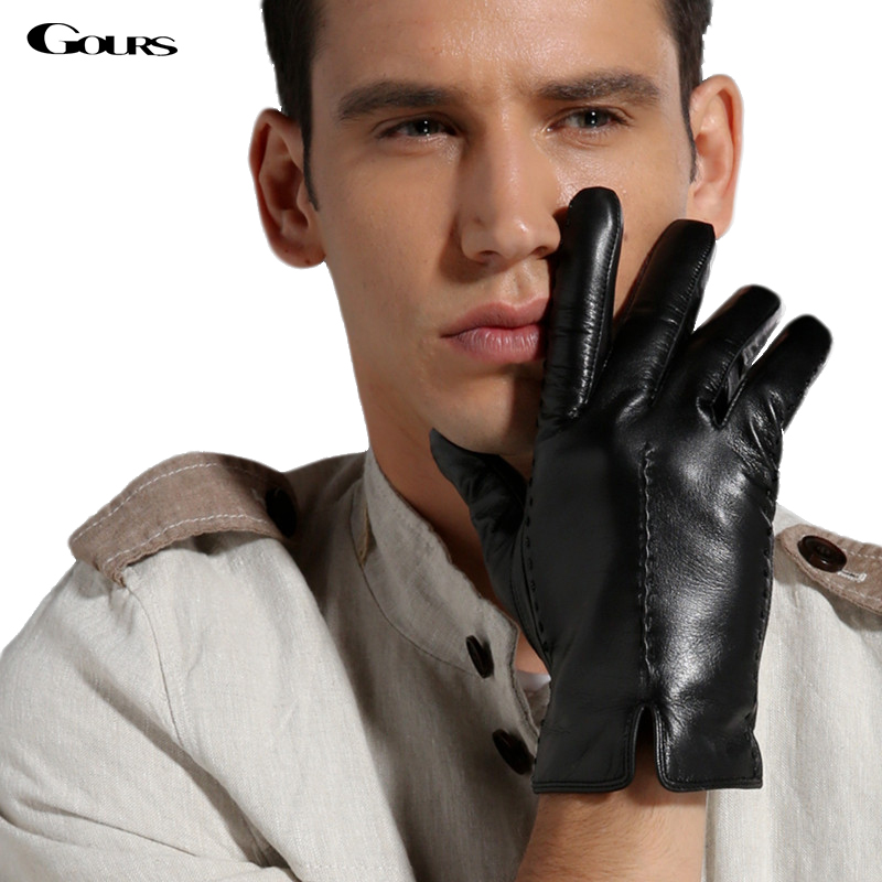 Gours Men's Winter Genuine Leather Gloves New Fashion Brand Warm Black Driving Gloves Goatskin Mittens Guantes Luvas GSM021