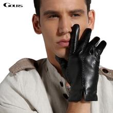 Gours męskie zimowe oryginalne skórzane rękawiczki nowa marka modowa ciepła czarna rękawiczki do jazdy rękawiczki z koźlej skóry Guantes luvas GSM021 tanie tanio Dla dorosłych Genuine Leather Stałe Nadgarstek Moda Finger gloves Men gloves Zhejiang China (Mainland) Black Brown Goatskin