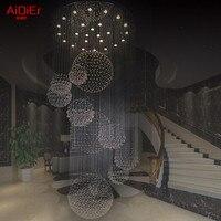 Новый современный лобби большой Хрустальные люстры/лестницы Потолочные светильники dia90xh300cm Высококлассные атмосфера роскошные лампы