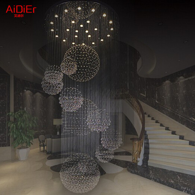 New Modern Hotel Lobby Big Crystal Lamps /staircase Ceiling Lights  Dia90xH300cm Upscale Atmosphere Luxury Lamp