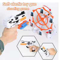 NEW Boy Kid New Toy Gun Soft Elastic Shooting Game Spin Rotate The Target With Figure