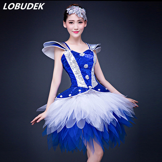 Blue sequins Female Crystals Dress Bar party Jazz dance costumes Modern dancing  performance Costume Dance groups a0820eeb94ed