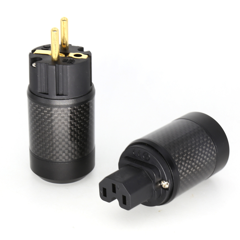 Unprinted Carbon Fiber 24K gold Plated Brass Schuko Power Plug +pure copper IEC Female Connector for DIY Hifi audio power cable