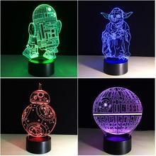 2019 New 3D Night Lamp Death Star Wars Battleship Millenium Falcon R2 D2 Yoda BB 8 Transporting Dog Movie Fans Boy Lighting Gift