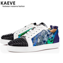 Spring Lace Up Genuine Leather Men Shoes Rivets Stud Flat Mens Casual Shoes Low Top Spike Sneakers Runway Chaussures Hommes mycolen street style men sneakers high top winter shoes male leather men s comfortable lace up casual shoes chaussures hommes