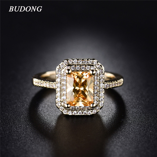 BUDONG Stunning Pretty Double Halo Finger Ring Gold Color Infinity Princess Cut