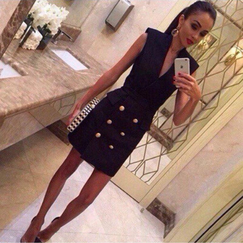 2018 new style spring double-breasted dress sleeveless Slim package hip A word dress