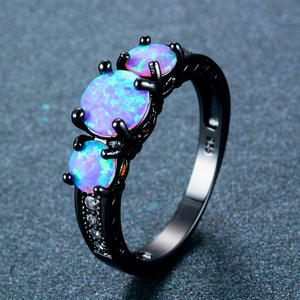 Exquisite Female Round Blue Fire Opal Fashion Ring Black Gold Filled Wedding Rings For Women Vintage Jewelry Anillos Mujer