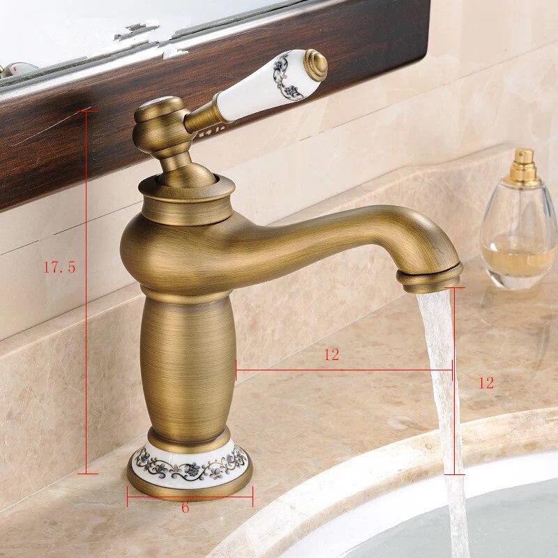 Hot sale Bathroom Basin Faucet Antique bronze Brass Mixer Tap with ceramic sink faucet bath mixer