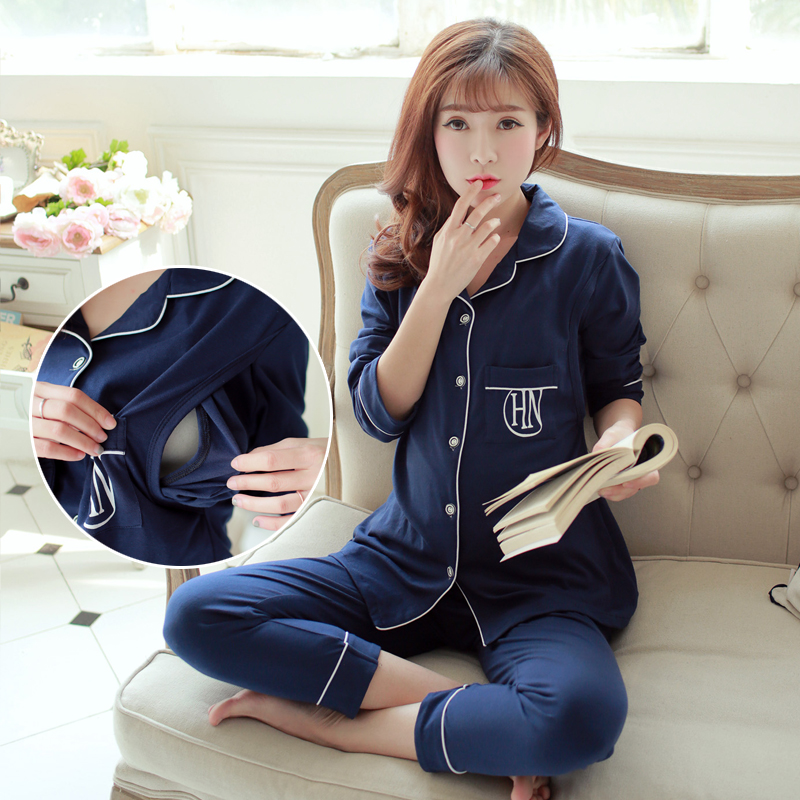 Maternity Nursing Pajamas Spring and Autumn Breastfeeding Clothes Kit for Pregnant Women Fashion Long Nighty Nursing Nightgown