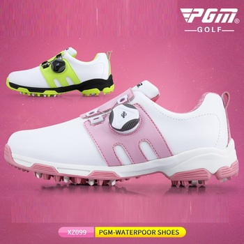 PGM Children Girls Golf Shoes Boys Waterproof Sports Golf Sneakers Teen Rotating Shoeslace Non-slip Shoes Trainers D0757