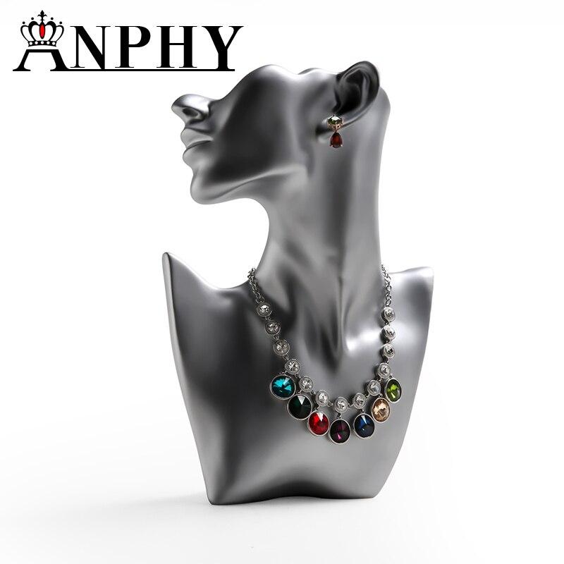ANFEI nouvelle mode demi-visage résine collier présentoir buste microfibres Rack pour collier pendentif exposition magasin compteur