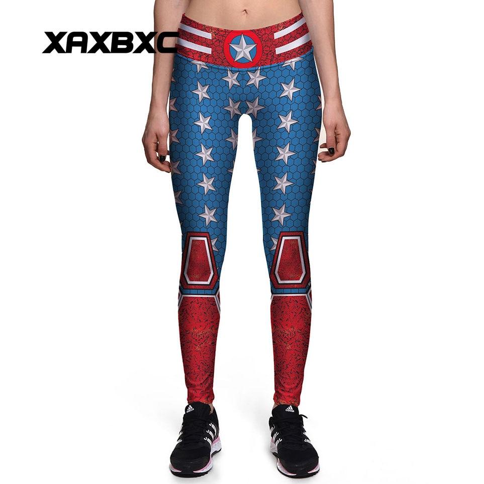 XAXBXC 0134 New Sexy Girl Slim Pants Mesh Vintage Captain America Prints High Waist Workout Fitness Women Leggings Plus Size
