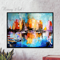 Urban Riverside Landscape Painting Canvas Back Modern Minimalist Wall Painting Of New Chinese Style Living Room