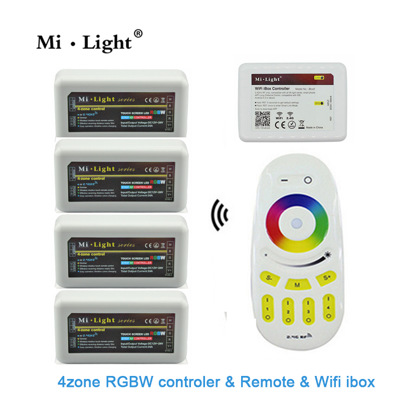 Milight Remote+WiFi +4x RGBW LED Controller group control 2.4G 4-Zone Wireless RF Touch For 5050 3528 RGBW Led Strip Light dc12 24v mi light wireless 10a 2 4g 4 zone rf wireless rgbw led remote wifi controller dimmer for 5050 3528 led strip light bulb