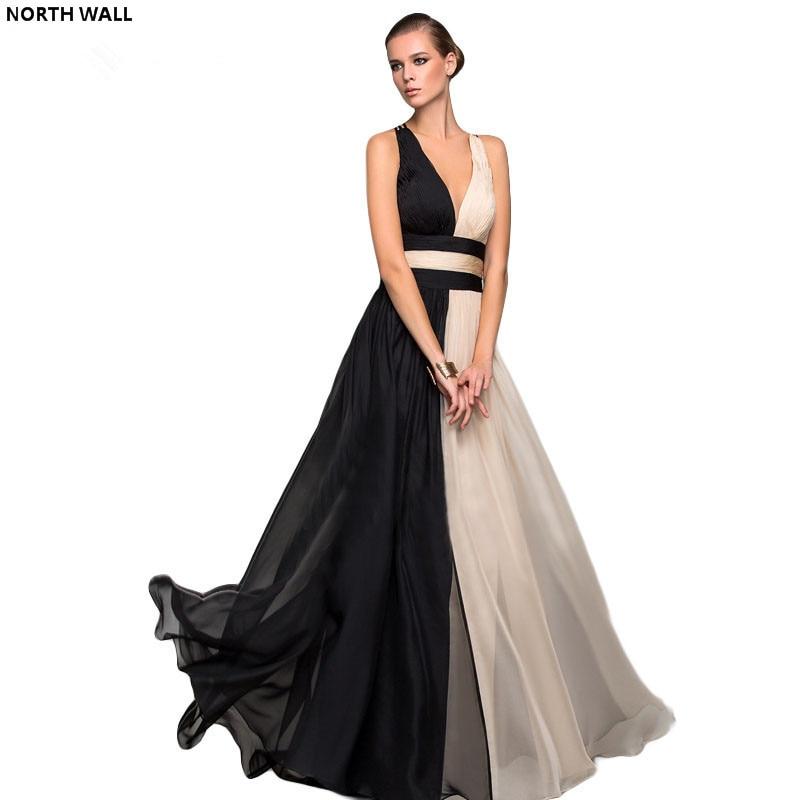 Nördlichen Wand sommerkleid frauen 2018 Colorblock Sexy Kleid Halfter Sleeveless langes kleid Weste Bandage Chiffon kleid elegante